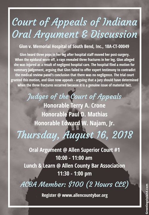 Court of Appeals of Indiana Oral Argument & Discussion Flyer